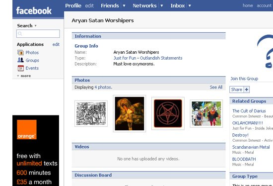 A screenshot from Facebook showing an Orange advert on the group Aryan Satan Worshippers