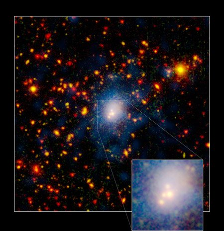 Four galaxies collide. Image Credit: NASA/JPL-Caltech/K. Rines (Harvard-Smithsonian CfA)