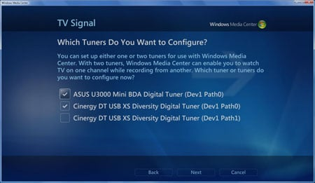 Windows Vista can use multiple TV tuners