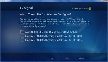 Windows Vista can use multiple TV tuners