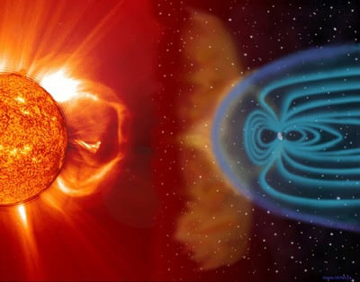 SOHO image of the Sun and an artist's impression of Earth's magnetosphere.