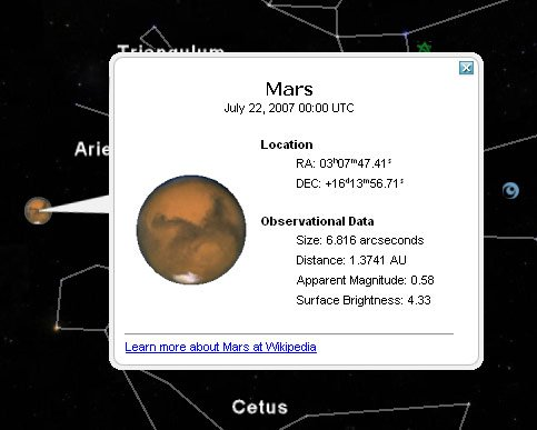 Mars, as seen on Google Sky