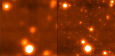 The Globular cluster M13 as imaged conventionally, and with Lucky adaptive optics