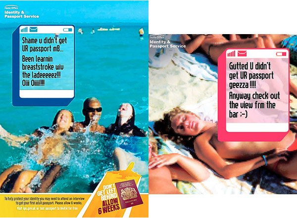 Two Home Office posters backing its 'holiday virgins' campaign