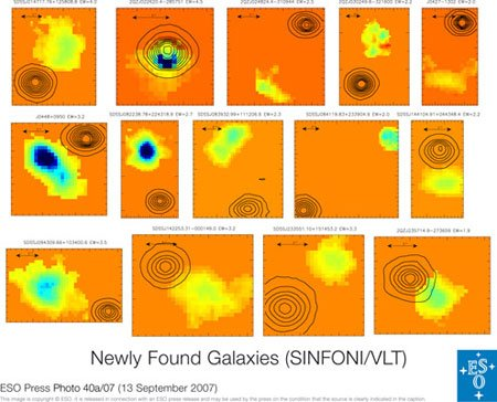 Newly Found Galaxies (SINFONI/VLT) 