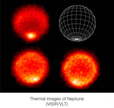 Thermal images of Neptune's hot south pole