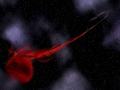 Artist depiction. A pulsar tears into a planet mass object. Credit: