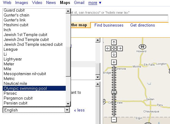 Google Maps screen grab showing alternative units of length