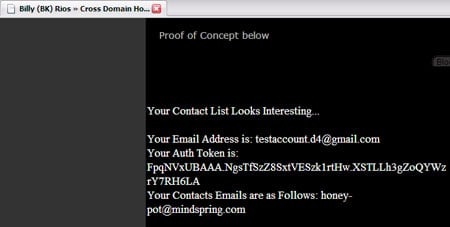 Screenshot of browser window displaying Gmail contact