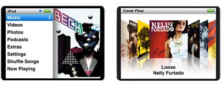 iPod Nano user interface screens