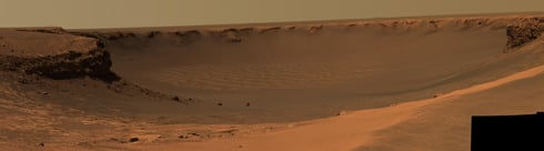 Victoria crater on Mars, as seen by NASA's rover Opportunity