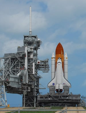 The Shuttle Discovery gets ready for launch