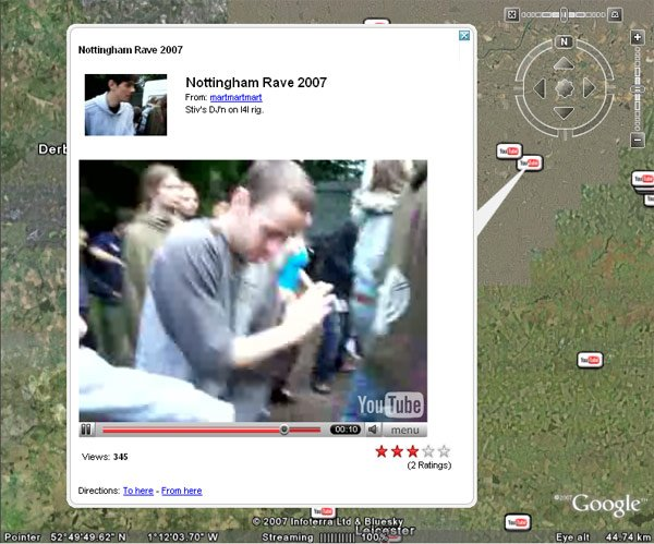 YouTube vid of a Nottingham rave as seen on Google Earth