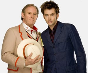 Peter Davison and David Tennant. Pic: BBC