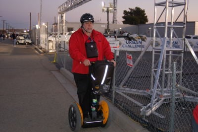 Shot of Apple co-founder Steve Wozniak on a Segway