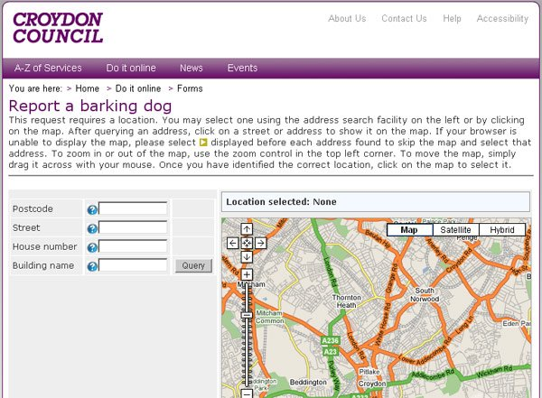 A screengrab of Croyon's &amp;quot;Report a barking dog&amp;quot; system