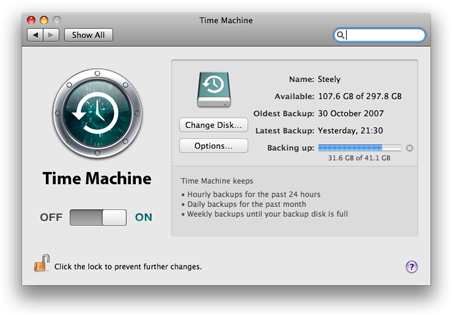Leopard Time Machine preferences pane