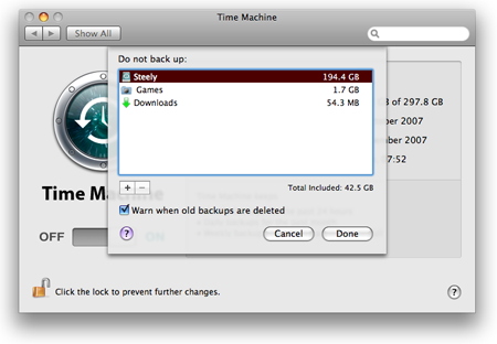 Leopard Time Machine file exclusion