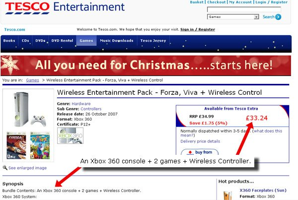 Screen grab of Tesco's sensational Xbox offer
