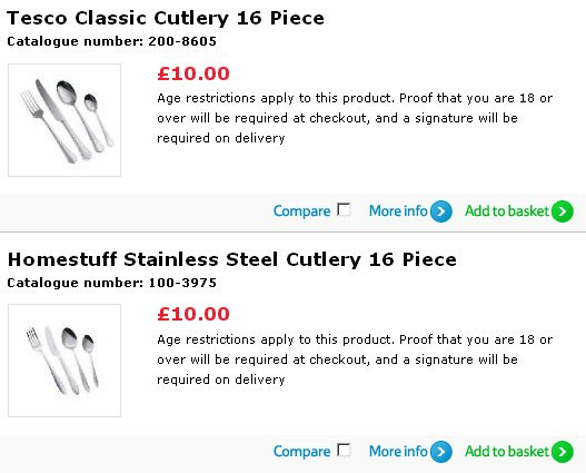 Tesco screen grab showing that under-18s cannot buy cutlery