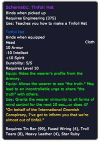 World of Warcraft tinfoil hat