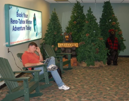 Shot of the Christmas display at Reno airport - fakes trees, benches and bears