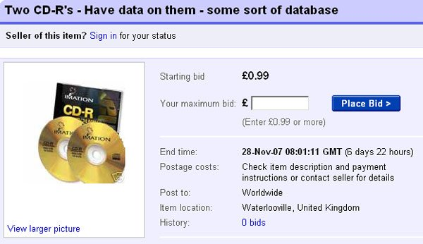"Screen grab of eBay ""HMRC discs"" auction"
