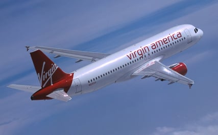 Virgin America plane in flight