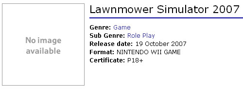 Lawnmower Simulator 2007 as seen on Tesco website, rated 18+
