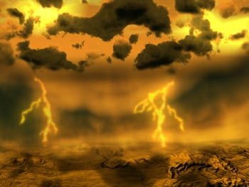 Artist's impression of a lightning storm on Venus. Cr