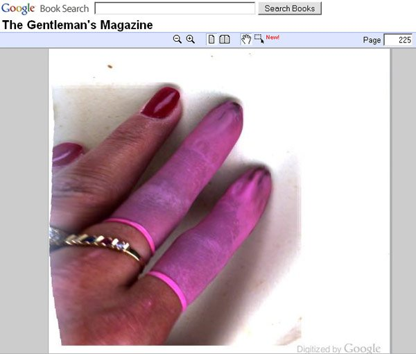 Google book scan showing woman's hand