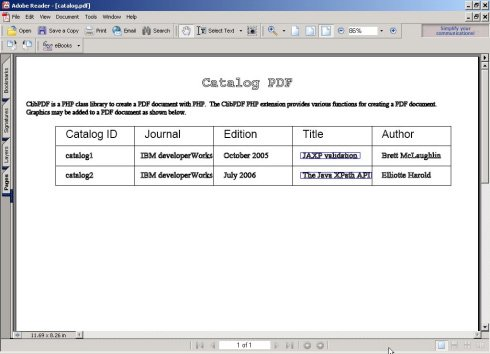 PDF Document generated with PHP.