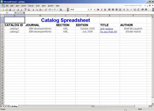 Excel Spreadsheet generated with PHP.