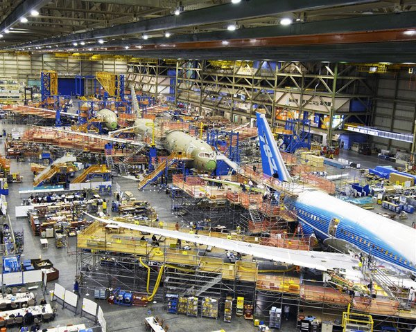 Boeing's 787 production line. Photo: Boeing