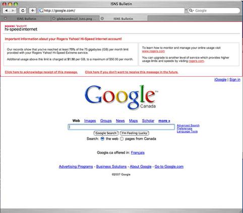 Google Rogers Yahoo! home page