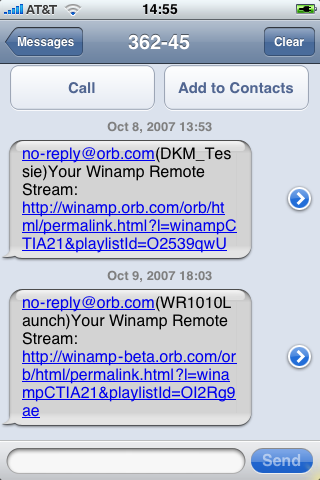 Orb streaming links embedded into an SMS chat