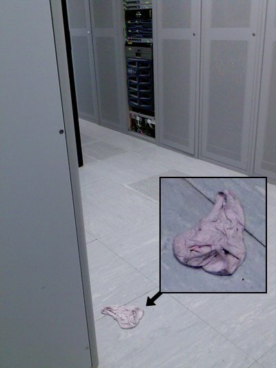 View of data centre showing pair of knickers on floor