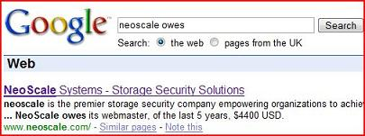 "Screenshot of a Google search for ""Neoscale owes"" showing the phrase in the results"