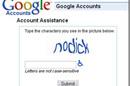 """Screenshot of Google captcha that reads: """"nodick"""""""