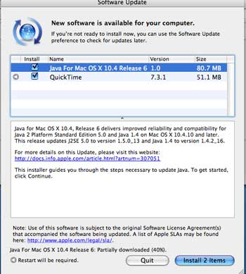 Screenshot of Java update notice