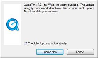 Screenshot of QuickTime update window