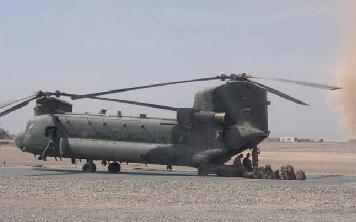 A Chinook on ops in Afghanistan