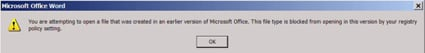 Screenshot of Office warning