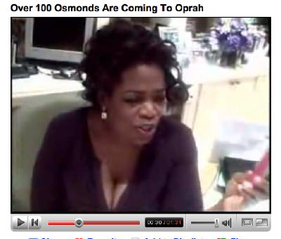 Shot of Oprah's cleavage from YouTube video