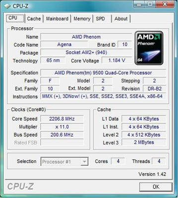 AMD Phenom 9500 - CPU-Z
