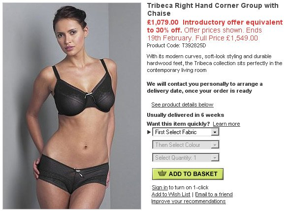 M&S website showing lingerie model described as living room furniture