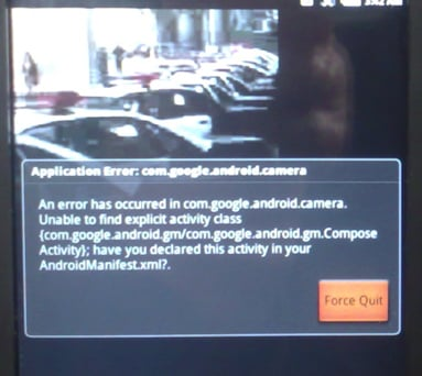 Google Android error message