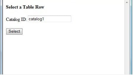 Selecting a database table row
