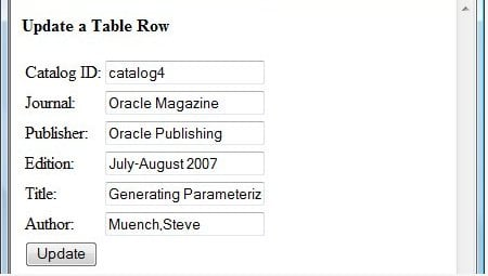 Updating database table