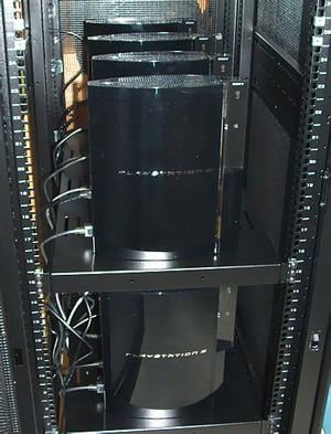 Rack mounted PS3s at the University of Massachusetts